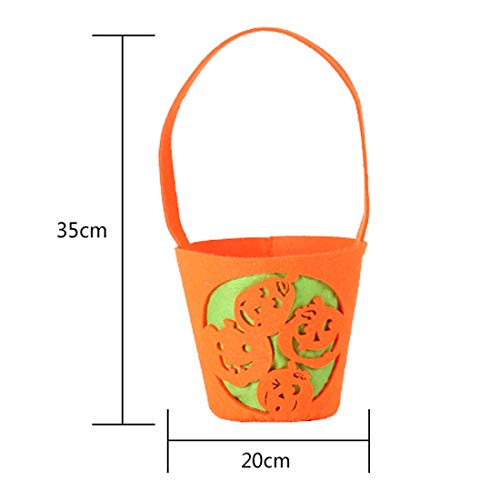 Gift Bags & Wrapping Supplies - Cotton Canvas Bags Trick Or Treat With Pumpkin Spider Web Decorations Halloween Gift Kid Candy - Low Sweet Bag Copper Clock Fabric Three Snack -