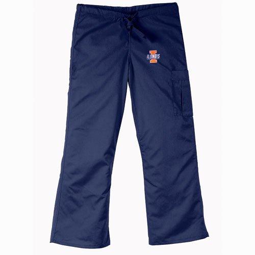 Illinois Fighting Illini NCAA Cargo Style Scrub Pant (Navy) (2X Large) by Gelscrubs