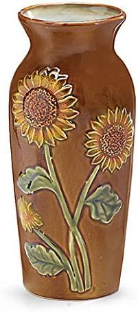 Findlavender Sunflower Vase – Ginger Jar Shape Sase with Background Colors Brown