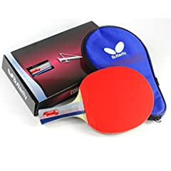 The Butterfly 401 Table Tennis Racket Set is a professional quality ping pong paddle with a free ping pong paddle case in a gift box that is perfect for any occasion. This high value ping pong racket will give you a good mix of spin, speed, a...