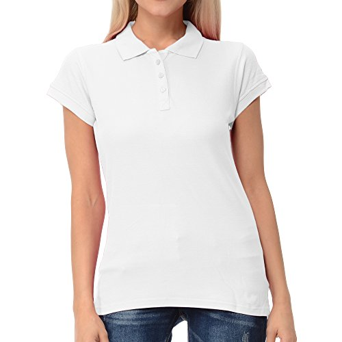 FRESH TEE Women's Short Sleeve Regular Pique Polo Shirt (Large, White) (Tee Regular Sleeve Short)