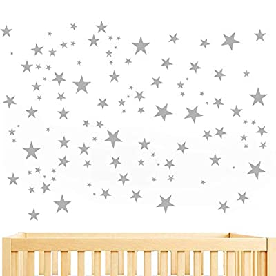 JUEKUI Moon and Stars Wall Decal Set Starry Sky Vinyl Sticker for Kids Boys Girls Baby Room Decoration Good Night Nursery Wall Decor Home Decoration WS29 (Light Grey): Kitchen & Dining
