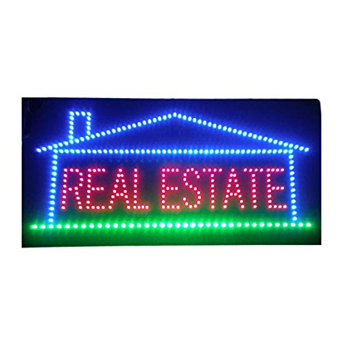 Real Estate Led - LED Real Estate Open Light Sign Super Bright Electric Advertising Display Board for Broker Realtor Properties Business Shop Store Window Home Bedroom Decor 24 x 12 inches