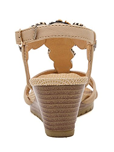 Minetom Mujer Verano Elegante De Cuña Sandalias Con Cuentas Estilo Bohemio Chancletas Plataforma Peep Toe Zapatos Zapatillas Playa Albaricoque