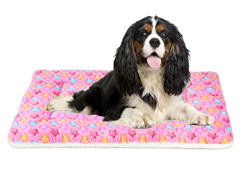 Mora Pets Ultra Soft Pet (Dog/Cat) Bed Mat with Cute Prints | Reversible Fleece Dog Crate Kennel Pad | Machine Washable Pet Bed Liner (30-Inch, Pink)