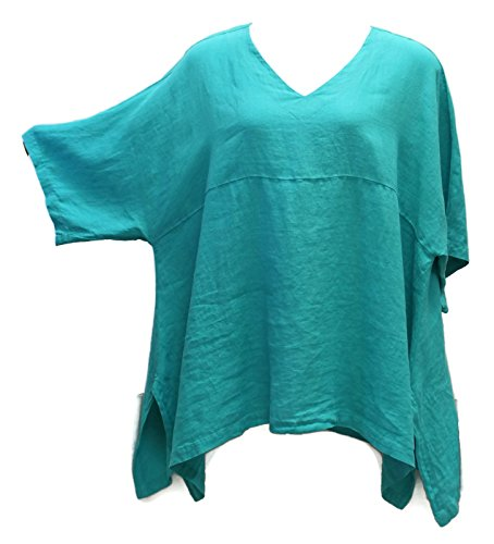 "Match Point Women's Pine Linen Kimono Tunic Oversized Plus Size (1X (Bust 60""), Pine)"