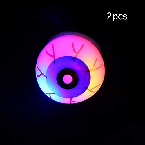 Tubwair 2PCS Led Flash Ring Creative Eyeballs Pumpkin Lights Ring Light Led Flash Ring Props for Halloween, Carnival, Masquerade Party Decoration(Eyeballs,As The Picture) ()