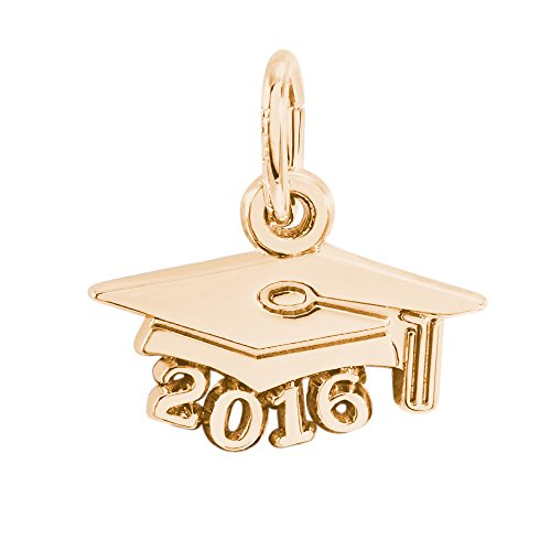 Yellow Gold Graduation Charm (Rembrandt Charms, 2016 Graduation Cap, Small, 14k Yellow Gold,)