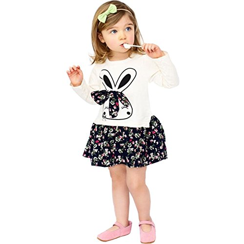 Okgirl Cute Little Baby Girls Long Sleeves Skirt Dresses Bunny Rabbit Floral Cartoon (Bunny Skirt)