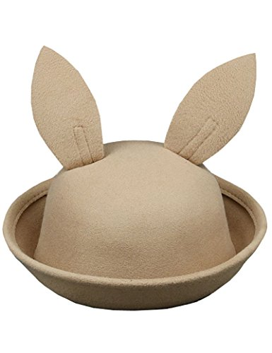 Lujuny Kids Easter Bunny Ear Bowler Hat – Cute Wool Derby Rabbit Cap with Roll-up Brim for Little Girl Boy (Camel)