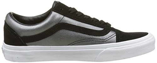 Metallic Skool Old 2 Black Vans true Noir Leather tone White Femme Baskets 8W644qR5