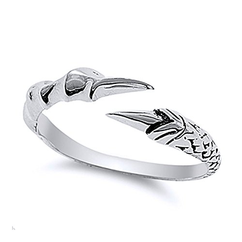 - Double Accent Sterling Silver Eagle Claw Open Ring (Size 5 to 10) Size 7
