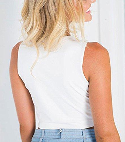 Shirt Blanc Court Tops Col Haut t Profond Manches Crop sans Femmes Sexy V T Shirts Blouses Traverser U6xqKHaw0