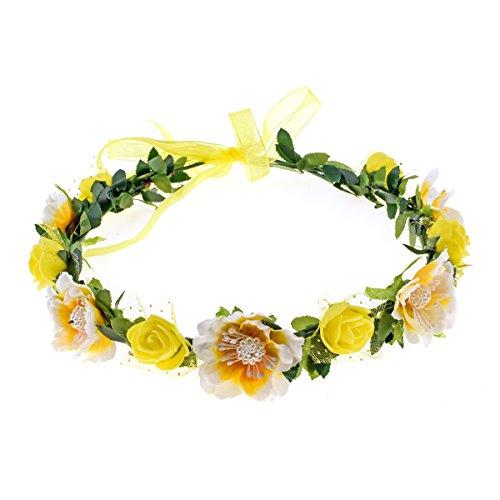 Love Sweety Girls Boho Rose Floral Crown Wreath Wedding Flower Headband Headpiece (Yellow)