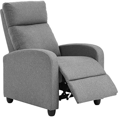 Recliner Chair for Living Room Home Theater Seating Single Reclining Sofa Lounge with Padded Seat Backrest Grey