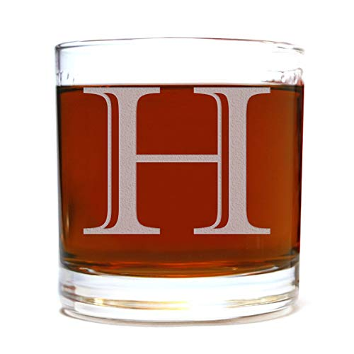 Etched Monogram 10.5oz Rocks Old Fashioned Lowball Glass for Whiskey Scotch Bourbon (Letter H) (Glasses Monogrammed Cocktail)