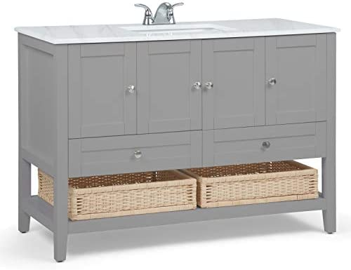 Simpli Home AXCVCCWG-48 Cape Cod 48 inch Contemporary Bath Vanity in Warm Grey with White Engineered Quartz Marble Extra Thick Top