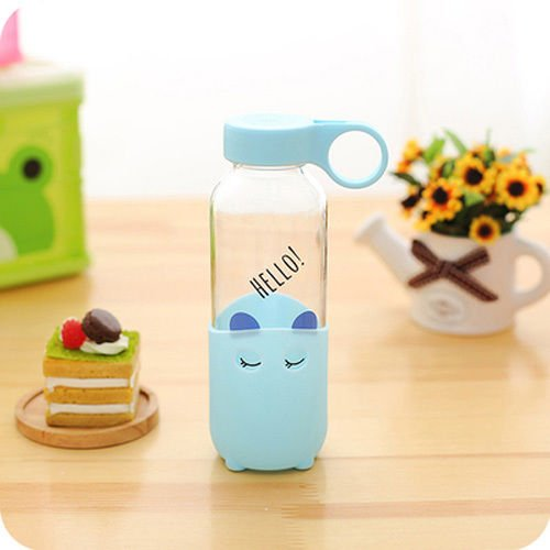 Cute Cartoon Glass Milk Juice Cup Water Bottle Cup Office Mug Sport Cup Kids Cup (Blue)