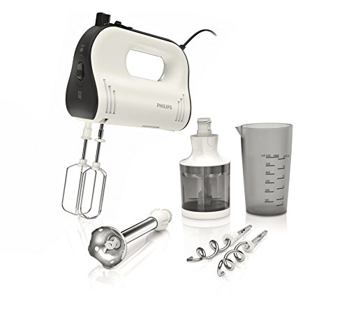 Philips HR1578/00 Handmixer (750 Watt, FlexiMix Funktion, Turbo) weiß