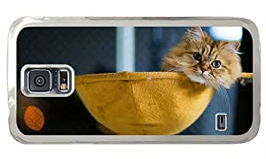 Hipster Samsung Galaxy S5 Cases popular fluffy cat chilling PC Transparent for Samsung S5