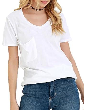 5615bc0e235d TASAMO Women's Summer Casual Sexy Short Sleeve V Neck Patch Pocket Slub  Texture Tee Loose Top