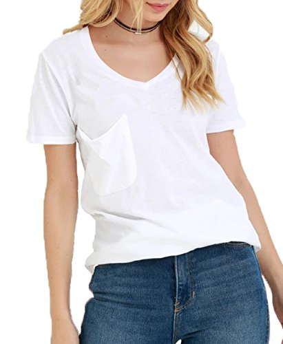 TASAMO Women's Summer Casual Sexy Short Sleeve V Neck Patch Pocket Slub Texture Tee Loose Top Tshirt