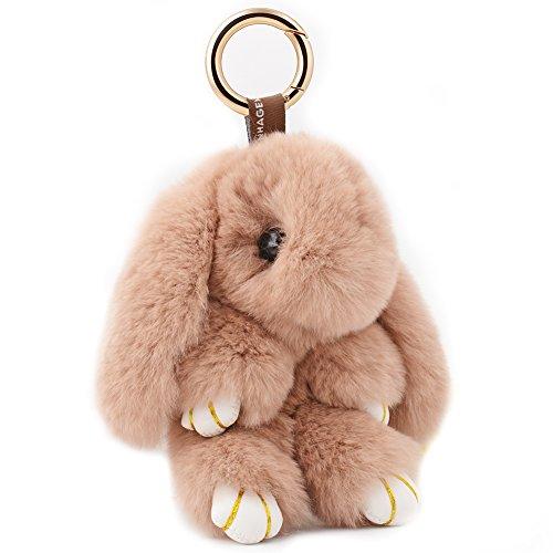 (EASYA Cute Keychain Plush Bunny Animal Keyring Rabbit Fur Doll Key Chain Bag Decorate)