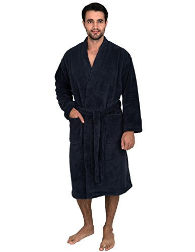 TowelSelections Super Soft Plush Kimono Bathrobe Fleece Spa Robe for Men Large/X-Large ()