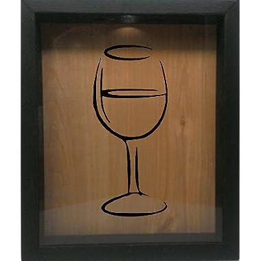 Wooden Shadow Box Wine Cork/Bottle Cap Holder 9x11 - Wine Glass Silhouette (Ebony w/Black)