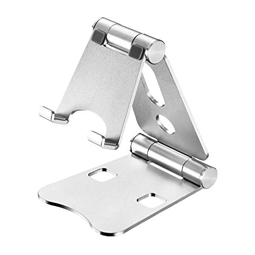 Cell Phone Stand, Multi-Angle Adjustable Phone Stand, Foldable Aluminum Stand Holder for iPhone/Samsung/iPad/Tablet and All Smartphone Devices (Silver)