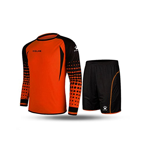 (KELME Soccer Goalkeeper Long Sleeves Jersey & Shorts for Mens Kids (Orange, Medium))