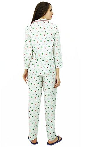 Phagun 3/4 impreso algodón pijama Set Pj Pant Ropa de dormir - elija el tamaño Blanco y verde