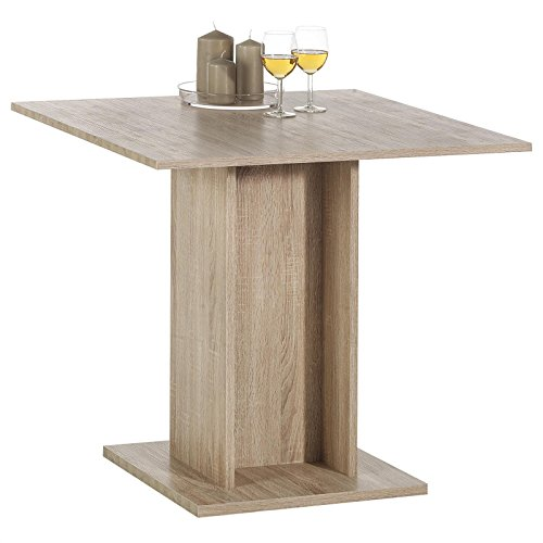 Esstisch Küchentisch ANCONA, 3D Strukturfolie Sonoma Eiche, 80 x 80 x 76,5 cm, stabiler Tischfuß