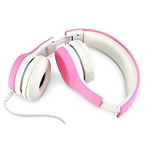 Nenos Children Headphones Kids Headphones Children's Headphones Over Ear Headphones Kids Wired Headphones Computer Volume Limited Headphones for Kids Foldable (Pink)