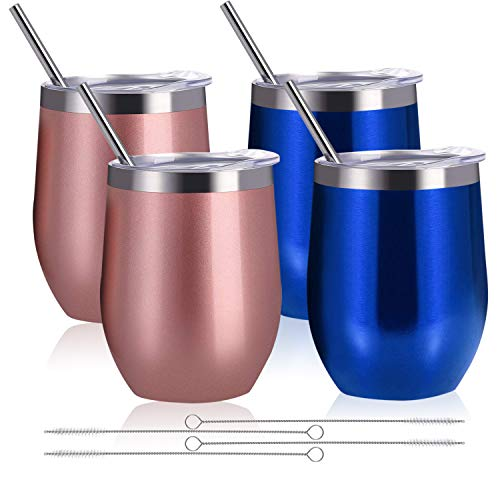 Zonegrace 4 pack Blue/Rose Gold 12 oz Stainless Steel Stemless Wine Glass Tumbler Double Wall Vacuum Insulated Wine Tumbler with Lids Set of 4 for Coffee, Wine, Cocktails, Ice Cream Including 4 Straws