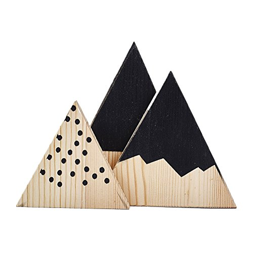(BYyushop 3Pcs/Set Nordic Mountain Style Triangle Shaped Kids Bedroom Decoration Ornaments - Black)