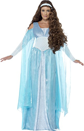 Smiffy's Women's Medieval Maiden Deluxe Costume, Dress and Headpiece, Tales Of Old England, Serious Fun, Size 6-8, 27878 (Maiden Medieval Costume)