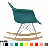 2xhome - Teal - Eames Chair Style Molded Modern Plastic Armchair Contemporary Accent Retro Rocker Chrome Steel Eiffel Base Ash Wood Rockers Rocking Mid Century Style Matte Finish - Blue-Green Color