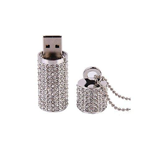 Price comparison product image A-one USB Flash Drive,Bling Rhinestone Diamond Crystal Glitter Lipstick Case Shining Jewelry Necklace (Silver 16GB)