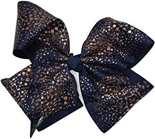Jojo Siwa Navy Blue with Rose Gold Glitter Print Hair Bow