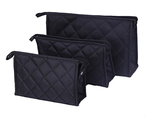 Micom Women Zipper Closure Rectangular Makeup Purse Quilted Cosmetic Bag Case with Mirror for Women,Set of 3