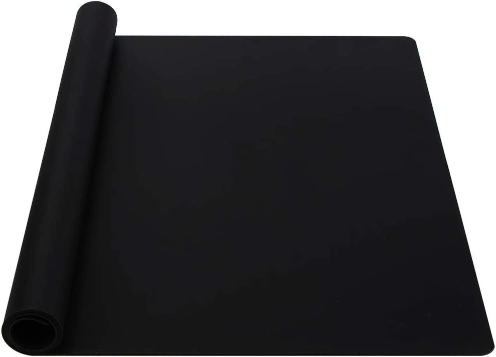 """Webake Extra Large Silicone Mat For Countertop, Multipurpose Nonstick Heat Resistant Mat 23.6"""" x 15.7"""" for Baking, Rolling Dough, Fondant, Resin Expoxy, Craft, Jewerly (Black)"""