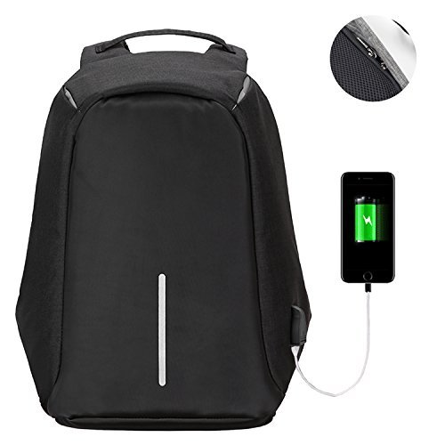 Anti-theft Laptop Backpack – (2017 Humanized Design) Marggle Lightweight and Durable School Backpack with USB Charging Port for Business and Travel Outdoor, Best Gift for College Student, Black by Marggle
