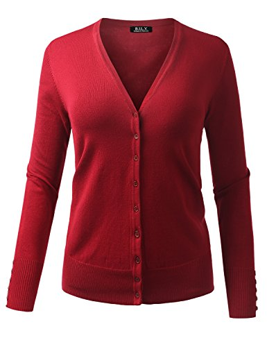 BILY Women's V-Neck Button Down Long Sleeve Classic Knit Cardigan Red Large