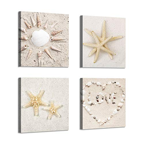 Wall Art Beach Canvas Print : Picture of Starfish & Conch Shells on Sand Painting for Wall Decor for Kids Room (12''x12''x4pcs)