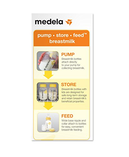 Medela Juego de botellas de leche materna, 5 onzas, 3 paquetes con niples, tapas, collares de base ancha y tapas de viaje, fabricado sin BPA