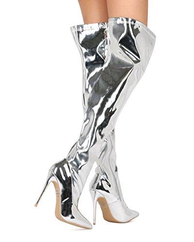 Alrisco Femmes Cuisse Haute Botte Stiletto - Orteil Pointu Au-dessus De La Botte De Genou - Cosplay Costume De Fête Halloween Botte Haute Sexy - He41 Par Collection Élégante Argent Métallisé