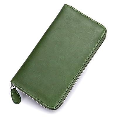 JOSEKO Card Holder Wallets, Women Men RFID Antimagnetic 36 Card Slots Dull Polish Genuine Leather 6inch Phone Bag Long Wallet