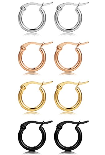 FIBO STEEL 4 Pairs 4 Colors Stainless Steel Small Hoop Earrings for Women Girls Huggie Earrings 10MM