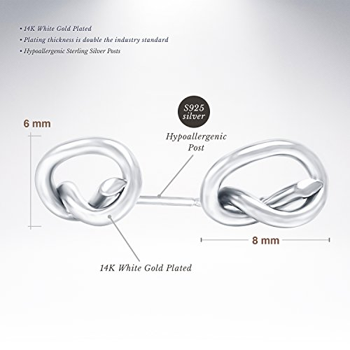 PAVOI 14K Gold Plated Infinity ''Forever Love'' Knot Stud Earrings - White by PAVOI (Image #1)